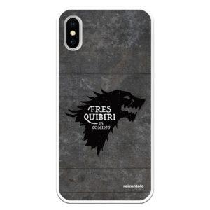 comprar funnda móvil silicona flexible fres quiribiri is coming simbolo stark lobo negro con fondo gris con reizentolo estilo juego de tronos