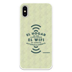 carcasa móvil el hogar es ese lugar donde el wifi se conecta automáticamente con fondo ondeado gris verdoso reizentolo fundas divertidas originales