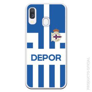 Funda móvil azul y blanco del depor escudo y letras en grande en Depor aficionados al canal Gol les encanta esa funda
