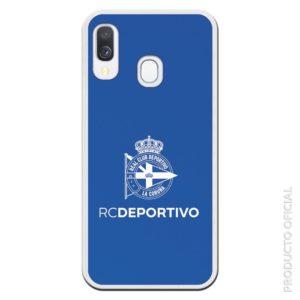 Funda móvil silicona RCD Deportivo noticias deportivas futbol seguidores con fondo azul
