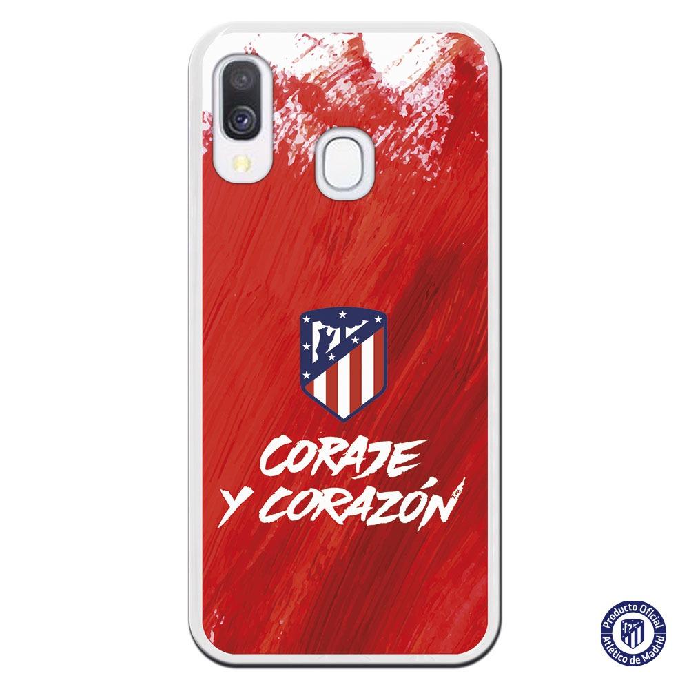 Funda móvil escudo atlético madrid Coraje y corazón lfondo rojo trazado pintura rojo y blanco