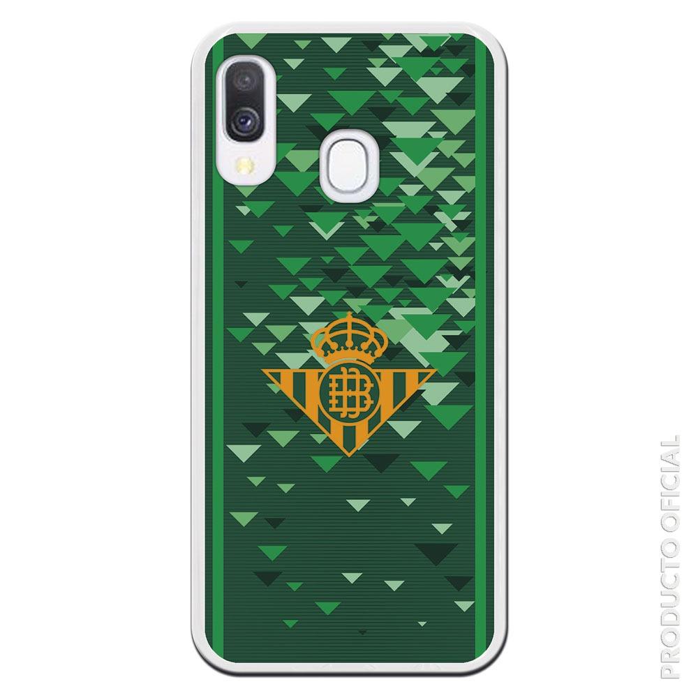 Funda móvil Betis escudo dorado y fondo vede distintos colores con triangulos verde oscuro