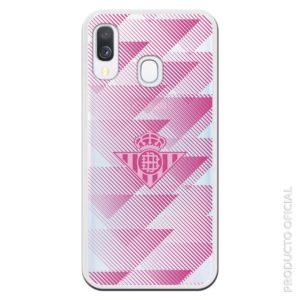 Funda móvil Betis femenino color rosa con transparencia líenas triangulos regalo original