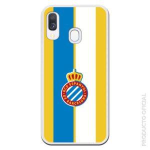 Carcasa móvil Espanyol fondo azul, blanco y amarillo para los aficionados del Espanyol