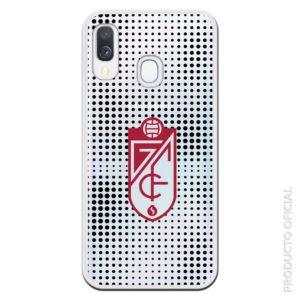 Carcasa móvil Granada escudo con lineas bolas negras con fondo transparente
