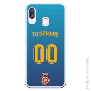 Funda móvil Girona segunda equipación temporada 19-20 personalizada letra amarilla y fondo azul