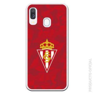 Funda móvil Sporting de Gijón escudo en el medio y fondo rojo triangulares con efecto relieve distinos colores rojos