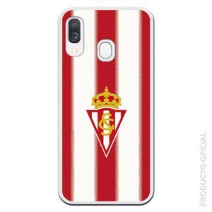 Comprar funda sporting de Gijón oficial aficionados regalos escudo y fondo blanco y rojo