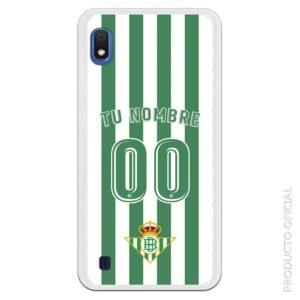 Carcasa móvil gel silicona flexible camiseta primera equipación Real Betis rayas blanca y verde escudo atlético