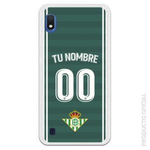 Funda móvil Camiseta segunda equipación Real betis fondo verde oscuro y más claro con letra y dorsal blanco y escudo Real betis