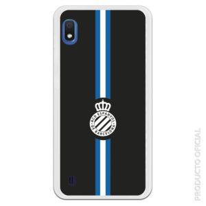 Funda móvil RCD Español escudo blanco líneas azul y blanco