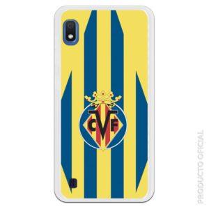 Funda móvil oficial Club de Futbol Villarreal Escudo centro con fondo amarillo y azul estilo rombo