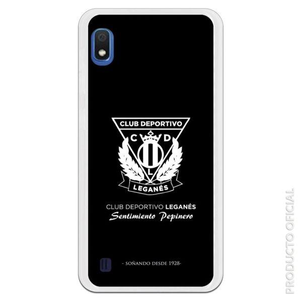 Funda móvil Club deportivo leganés oficial escudo blanco y fondo negro sentimiento pepinero