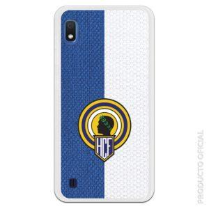 Funda móvil Hércules club de fútbol escudo gel Flexible con fondo textura tela azul y blanco