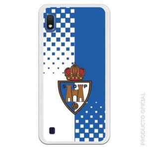 Funda móvil oficial Ponferrada silicona gel flexible escudo con fondo azul y blanco con cuadrados