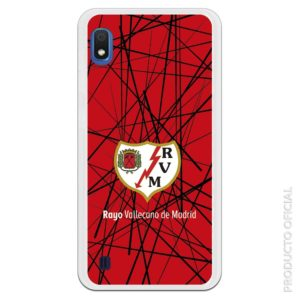 Funda móvil Rayo vallecano escudo Rayo con fondo rojo y rayas negras