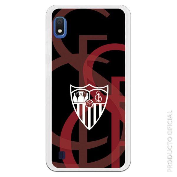 Funda móvil Sevilla escudo blanco sfc simbolo de fondo rojo graduado color negro fondo