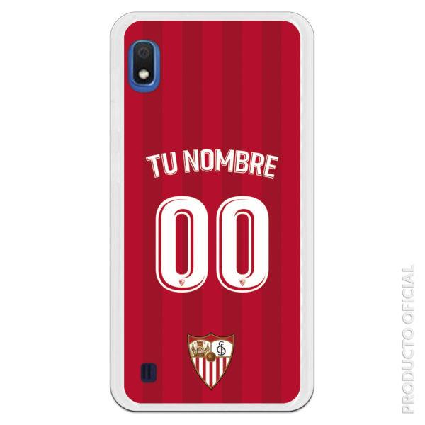 Funda silicona flexible Sevilla segunda equipación roja dos colores letras y dorsal blanco