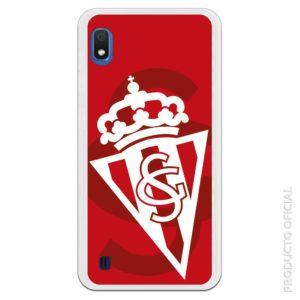 Funda móvil Sporting Gijón escudo doblado blanco y rojo fondo