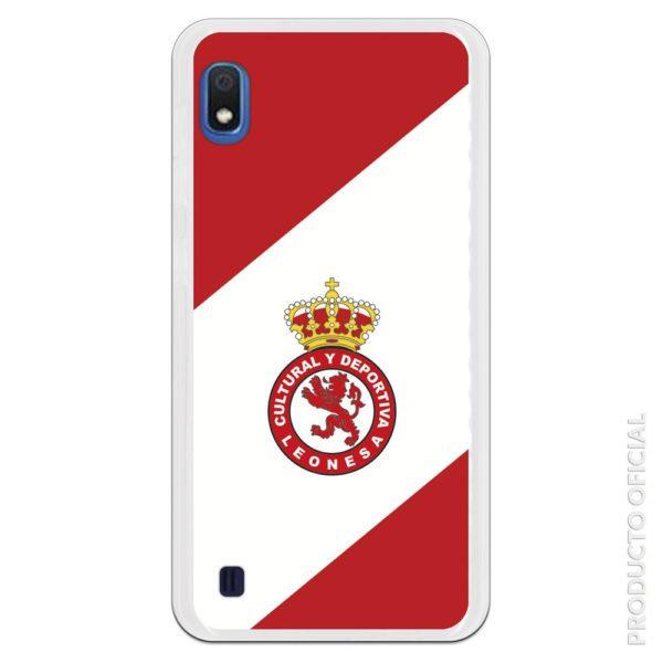 Funda móvil Cultural y deportiva leonesa con fondo blanco y rojo diagonal