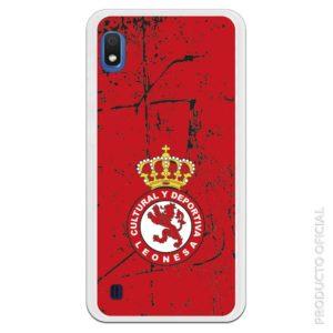 Funda móvil cultural y deportiva leonesa escudo con fondo rojo y gramaje negro textura
