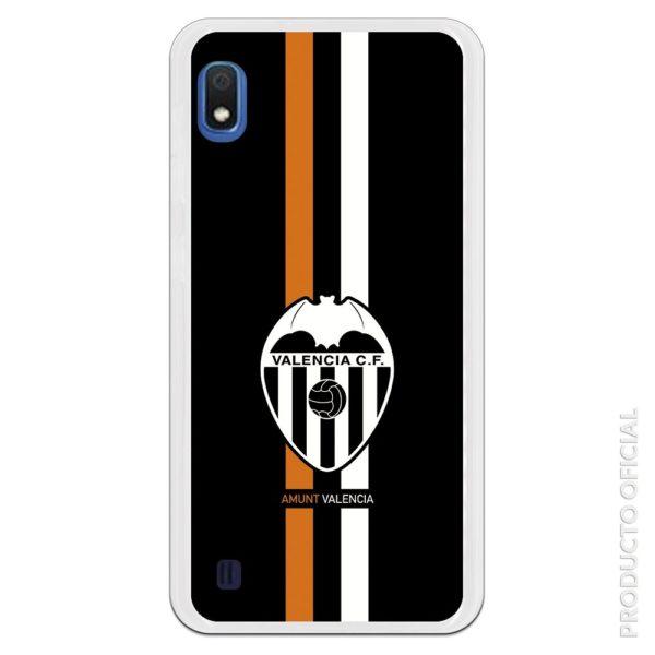 Funda móvil valencia escudo y fondo negro con líneas colores de la camiseta valencia naranja y blanco. Regalo día del padre