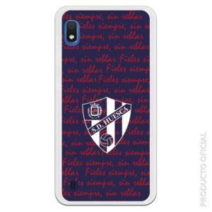 Funda móvil S.D Huesca escudo blanco Fieles siempre escrito en cursiva rojo con fondo azul Regalo aficionados del huesca club de futbol