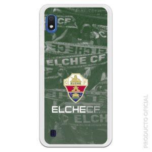 Funda teléfono móvil escudo elche letra blanca cf. Fondo afición elche con bufandas en partido de fútbol
