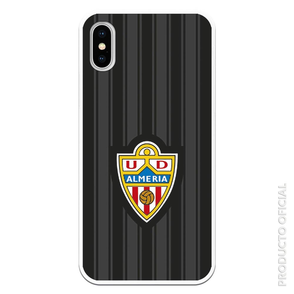 Comprar funda de almería U.D de equipo de fútbol con fondo negro y gris escudo silicona gel flexible