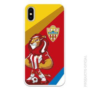 Comprar carcasa alméria u.d equipo de futbol con la mascota del almería con fondo amarillo rojo , azul y blanco diagonal