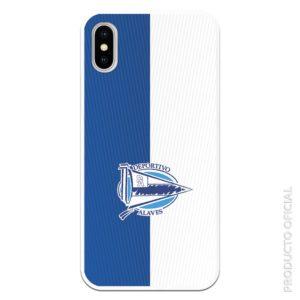 Carcas móvil deportivo alavés en medio abajo con fondo azul y blanco con líneas