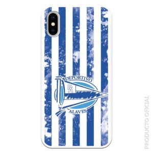 Comprar funda móvil deportivo alavés escudo con fondo azul y blanco y pintura blanco silicona gel flexible