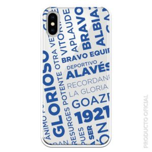 Comprar funda móvil Deportivo Alavés con letras Glorioso Barvo Recondando potente otra vez con fondo transparente.