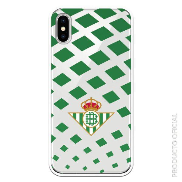 Funda móvil escudo real betis verde cuadrados triangulares con fondo transparente