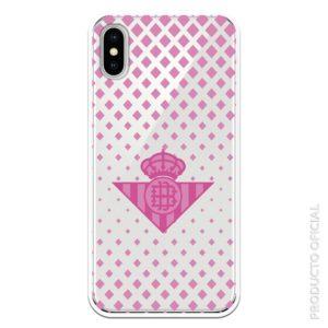 Comprar funda real betis escudo rosa y rombos rosas con fondo transparente