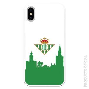 Funda móvil real betis escudo fondo blanco y verde silicona flexible