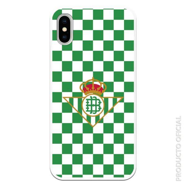 Funda móvil real betis escudo betis con fondo cuadrado verde y blanco silicona gel flexible