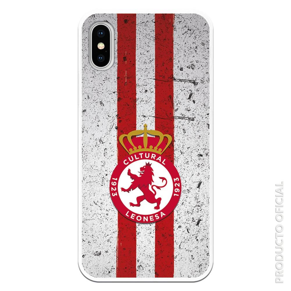 Funda móvil cultural rojo con fondo blanco y líneas rojas con fondo gris trama grunge
