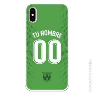 Comprar carcasa móvil leganés nombre y dorsal blanco con fondo verde con putos verdes oscuro leganés color verde segunda equipación temporada 19-20