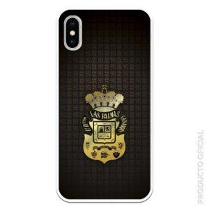 Funda móvil escudo dorado y fondo negro con iconos del escudo futbol con fondo negro silicona gel flexible