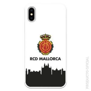 Funda móvil RCD Mallorca escudo y skyline fondo ciudad de mallorca