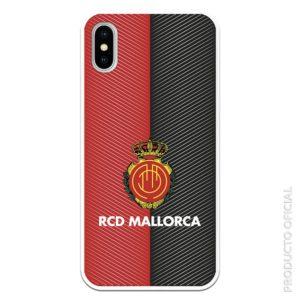 Funda móvil rcd mallorca escudo fondo rojoy negro líneas