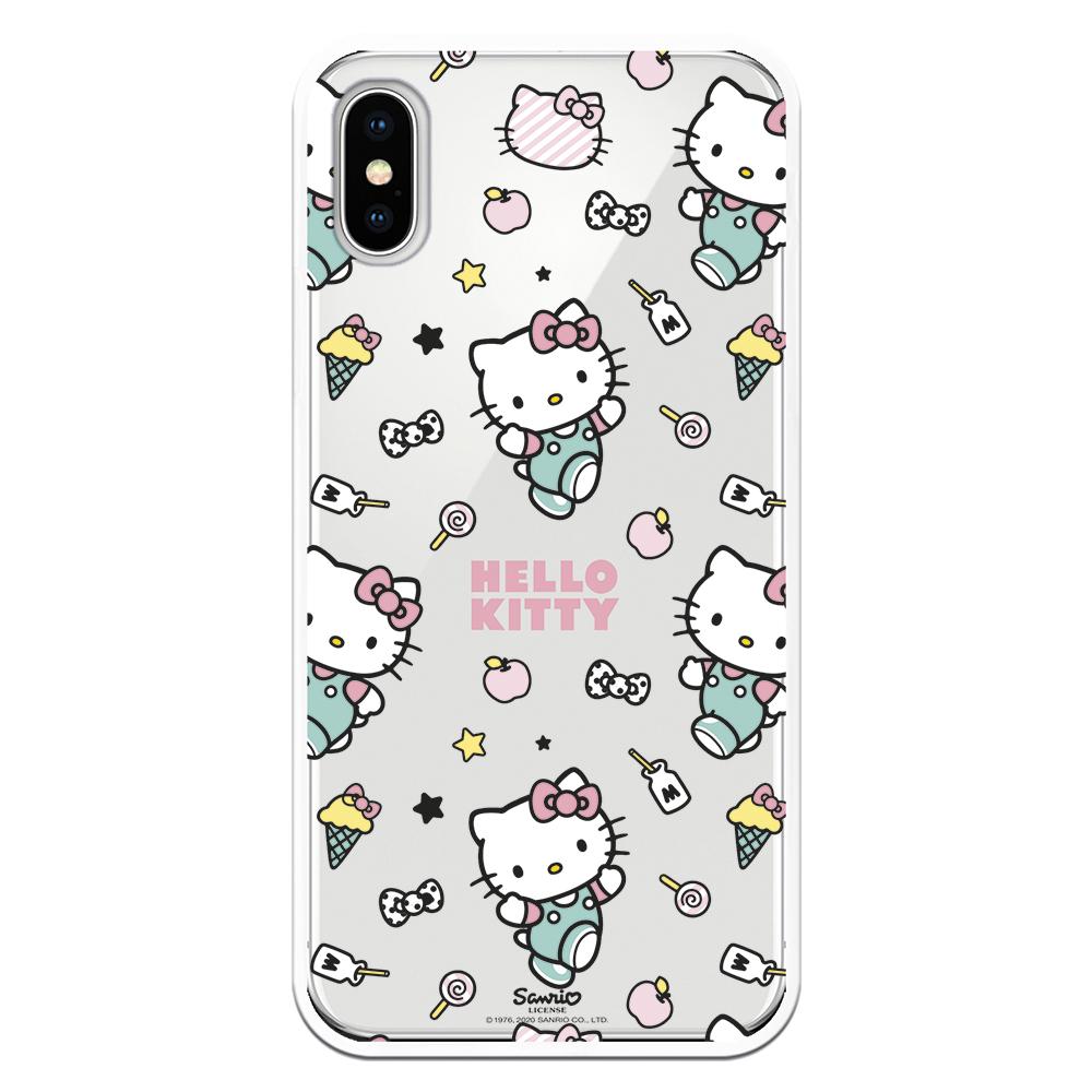 Carcasa móvil Hello Kitty feliz andando con helado, batido y estrella