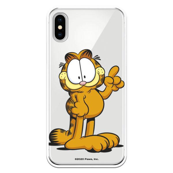 Funda Garfield como apunto de decir algo fondo transparente