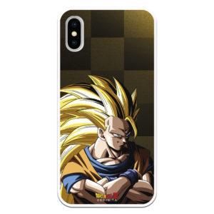 Carcasa móvil Bola del Dragón Goku supersayan brazos cruzados fondo cuadrados marrones