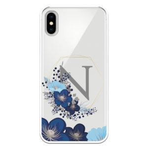 Carcasa móvil letras personalizadas N flores azules