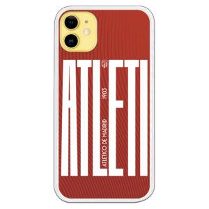 Funda móvil Silicona flexible Xiaomi Atléti letras largas 1903 escudo blanco y fondo rayas rojas ondeadas