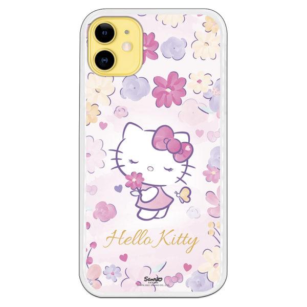 Carcasa móvil Hello Kitty oliendo flores fondo conflores y colores rosados