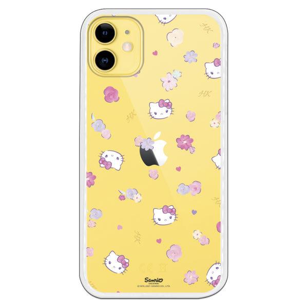 Funda móvil hello kitty con flores estilo japonés fondo transparente