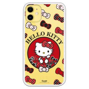 Carcasa móvil Hello kitty rojo y negro con fondo transparente